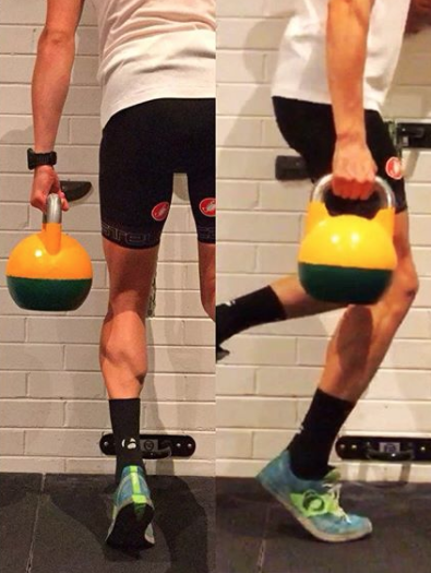 Calf raise with kettle bell